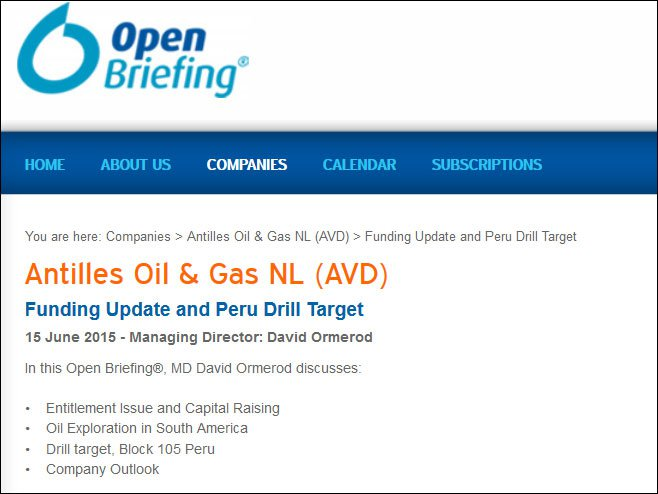 Antilles Oil & Gas (ASX:AVD)'s Open Briefing with David Ormerod