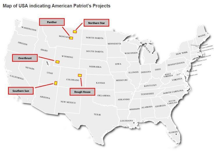 Map of USA indicating American Patriot projects